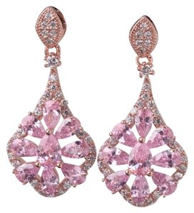 Other Brand New Pink Topaz & Rose Gold Filled Dangle Earrings