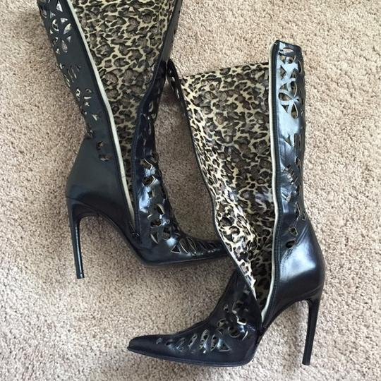 Mauro Marsili Italy Fashionista Knee High Cut Out Leather Sexy Black Boots