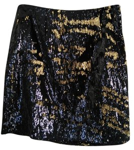 Michael Kors Sequin Mini Skirt Black and gold