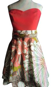 Judith March short dress Cream, Brown, Green, Corals on Tradesy