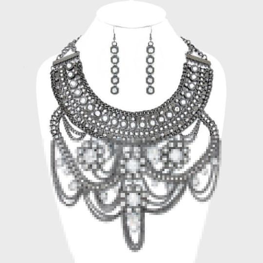 Other Ornate Victorian Hematite Crystal Accent Necklace and Earring