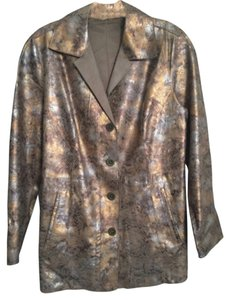 Chico's Brown/gold/silver Leather Jacket