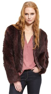 Anthropologie Wine Faux Fur DARK PURPLE Jacket
