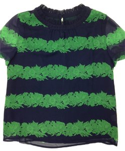 J.Crew Striped Silk Ruffle Beanstalk Top Navy/kelly green