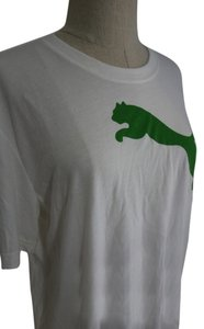 Puma Shirt Gym Workout Shirt Gym Workout Gym Clothes T Shirt White and Green