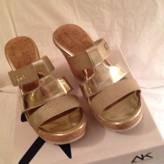 Anne Klein Gold/Cork Wedges