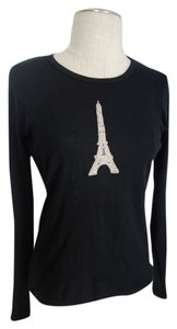 Fresh Tea Eiffel Studded Studded Shirt Cotton Shirt Paris Paris Paris Shirt Paris Shirt Paris Blouse T Shirt Black