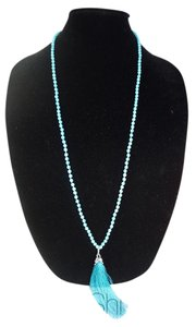 Turquoise Beads Necklace with a Tassel