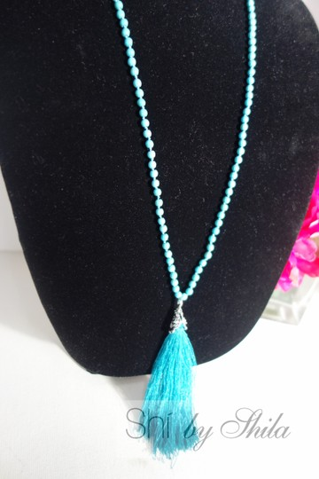 Other Turquoise Beads Necklace with a Tassel Image 1
