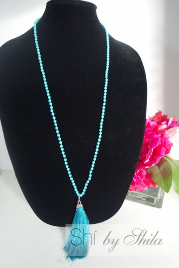 Other Turquoise Beads Necklace with a Tassel Image 2
