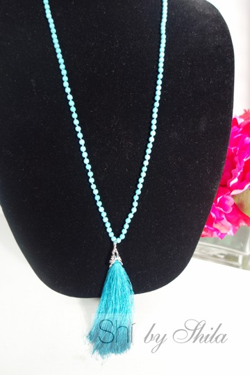 Other Turquoise Beads Necklace with a Tassel Image 4