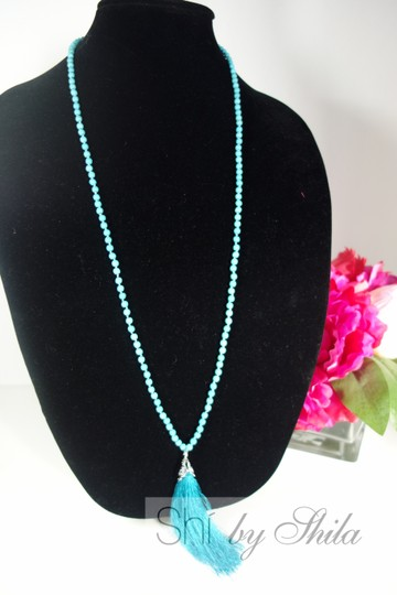 Other Turquoise Beads Necklace with a Tassel Image 5