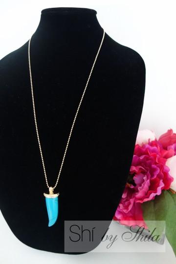 """Other """"Britta"""" Turquoise Horn Necklace"""