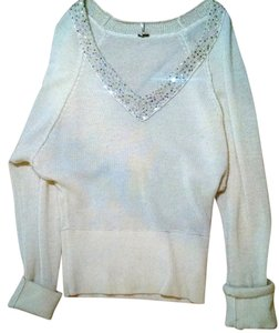 Free People Knit Size Medium Silver Ivory Sequins Stretchy Large P1704 Sweater