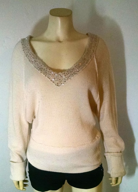 Free People Knit Size Medium Sequins Stretchy Large P1704 Sweater
