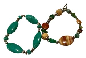 Other New 2 Piece Handmade Bracelets Turquoise & Jasper Gemstones J1256