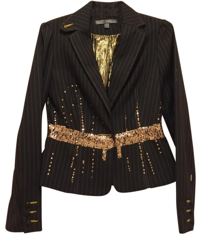 True Meaning Black Pinstripe With Gold Sequins Run Through