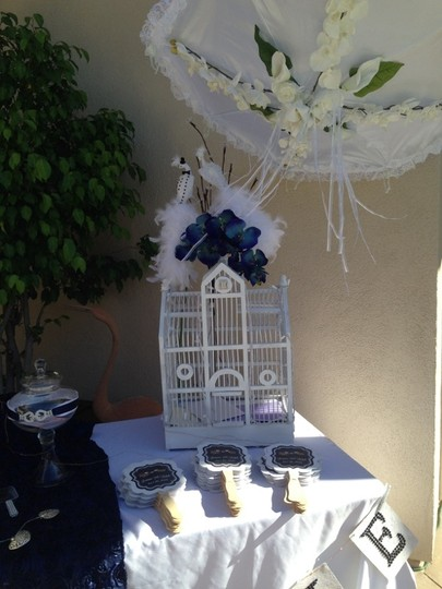 White Bird Cage For Money Cards with Bride & Groom Reception Decoration