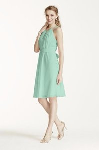 David's Bridal Mint Sleeveless Chiffon Short Dress With Beaded Straps Dress