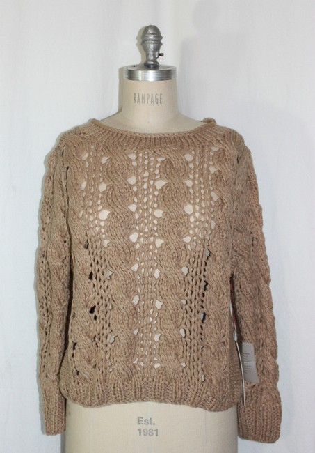 Anthropologie Open Knit Crochet Cable Knit Sweater