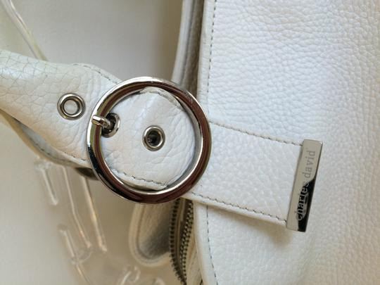 Charles David Leather Pebbled Classic Satchel in White Image 2