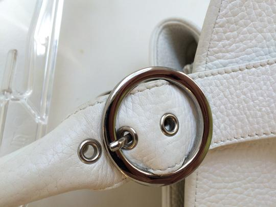 Charles David Leather Pebbled Classic Satchel in White Image 3