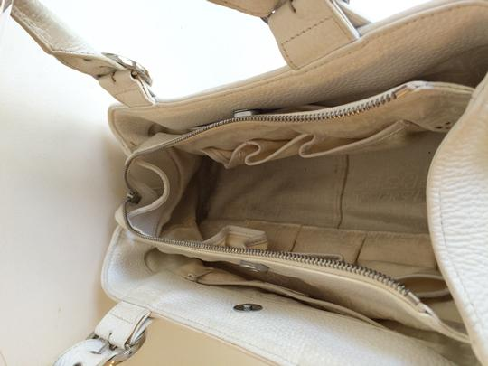 Charles David Leather Pebbled Classic Satchel in White Image 5
