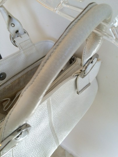 Charles David Leather Pebbled Classic Satchel in White Image 6