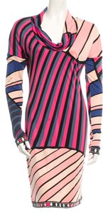 Emilio Pucci Blue Red Multicolor Longsleeve Silk Print Dress