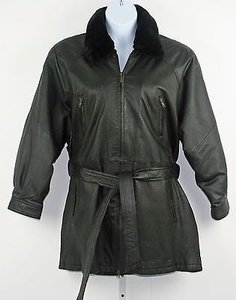 Wilsons Leather Faux Fur Collared Zip Front Leather Rack Black Jacket
