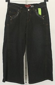 Other Hip X Denim Rhinestone Wide Leg Capri B299 Capri/Cropped Denim