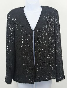 Dana Buchman Black 100 Silk Jacket