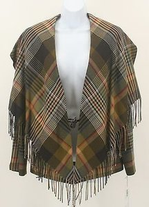 Worth Worth Olive Black Purple Plaid Wool Fringed Shawl Collar Blazer B176