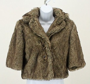 Kersh Fur Pink Lining 34 Sleeve Crop B248 Brown Tan Jacket