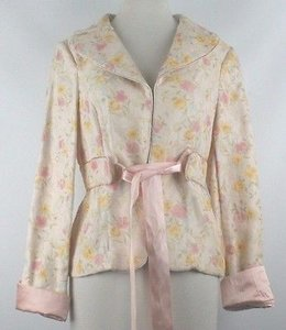 Other Pulsion Peach Yellow Pink Green Floral Satin Trim Ribbon Tie Blazer B22