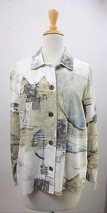 Chico's 1 Cream Aqua Moss Black 100 Cotton Summer B30 White Jacket