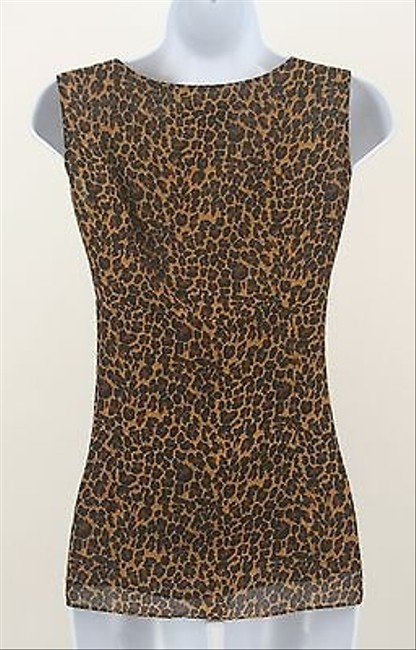 Other Clothing By Notations Black Tan Animal Wrap Tank B176 Top Brown