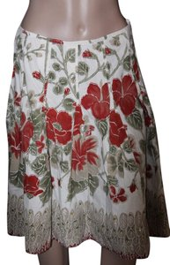 anthropologie cato Skirt burgandy/cream
