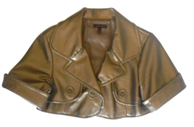 Item - Gold Cropped Faux Leather Activewear Outerwear Size 4 (S, 27)
