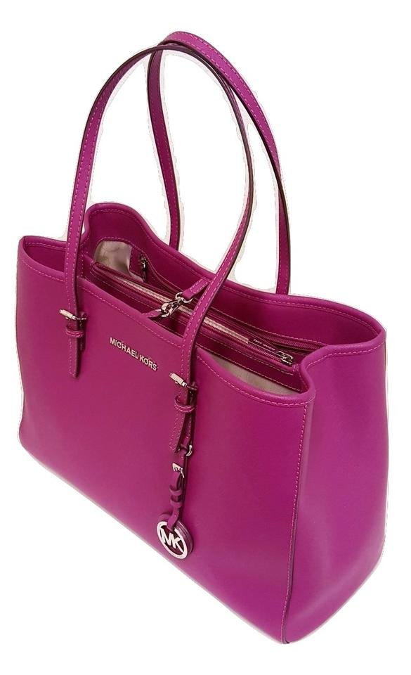 8dc9e63f0859 Michael Kors Jet Set Travel Large East/West Fuschia Pink Saffiano Leather  Tote - Tradesy
