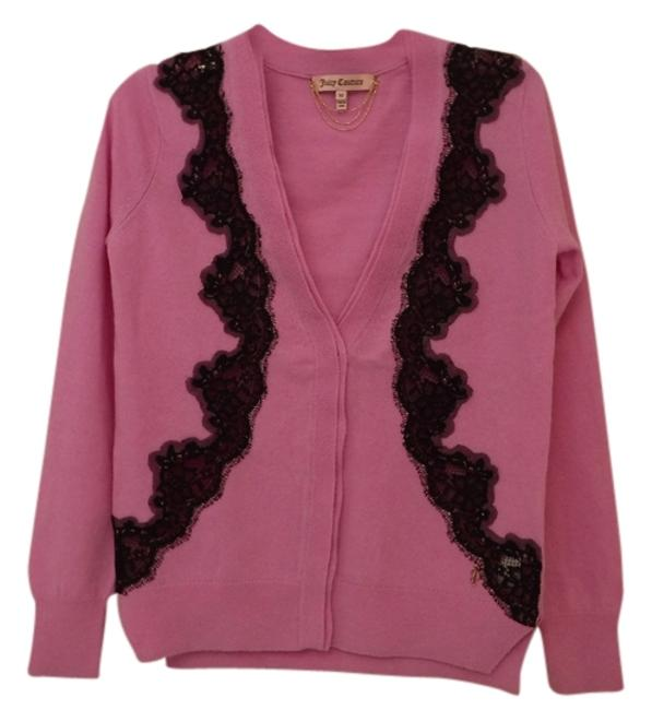 Juicy Couture Wool Cashmere Embellished Lace Cardigan