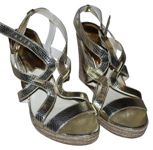 Michael by Michael Kors Leather Shiny Summer Gold Wedges