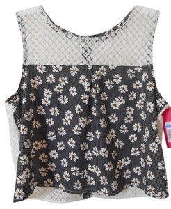 Xhilaration Crop Daisy Lace Top White, Black, Yellow