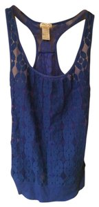 Eyelash Couture Sheer Floral Racer-back Top Royal Blue