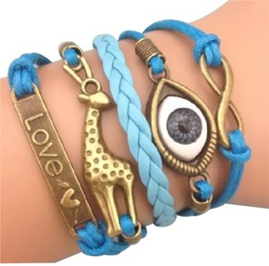 Other Leather Blue Blue Eyes Infinity Bracelet