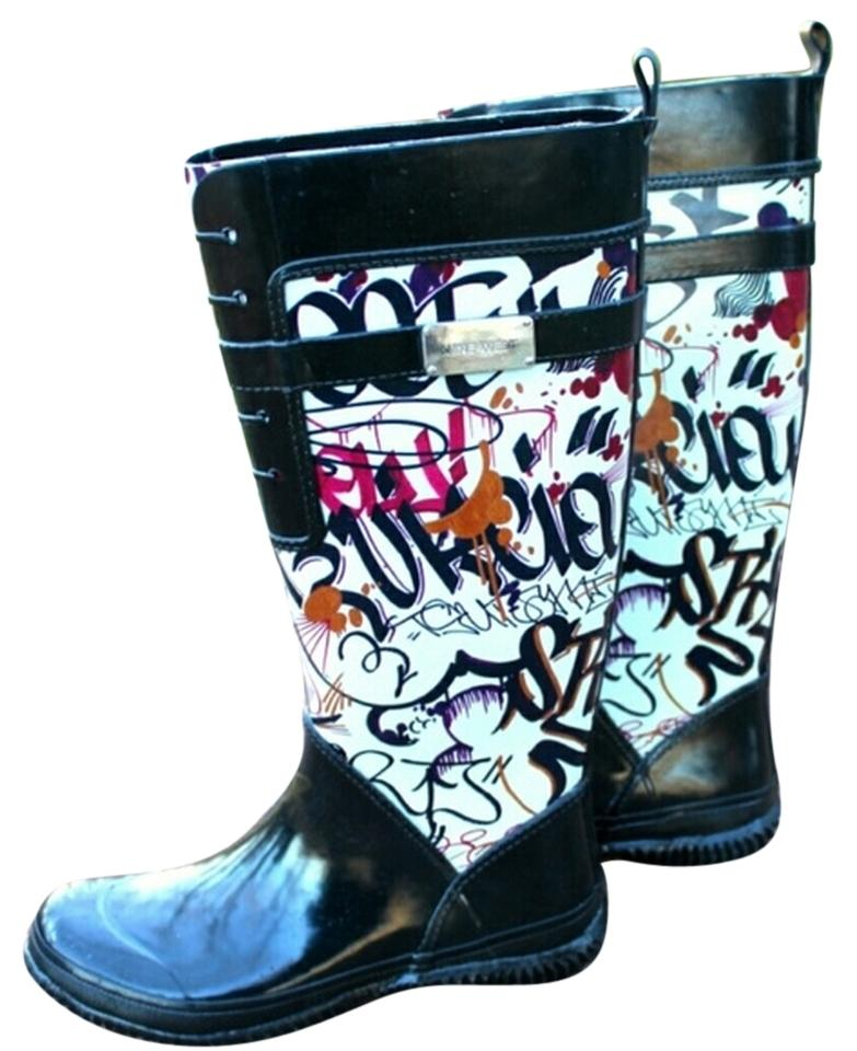 Nine West Black White Patterned Rain BootsBooties Size US 60 Tradesy Amazing Patterned Rain Boots