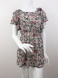 MM Couture short dress Multi-Color By Miss Me Black Floral Ruffle 100 Silk Mini on Tradesy