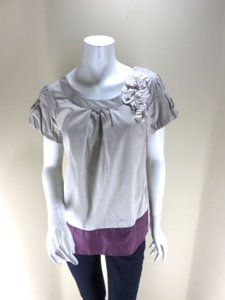 Floreat Anthropologie Taupe Top Taupe, Maroon