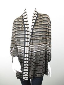 St. John John Yellow Label Striped Open Front Cardigan Sweater