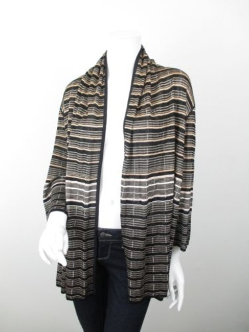 St. John Yellow Label Striped Open Front Cardigan Sweater